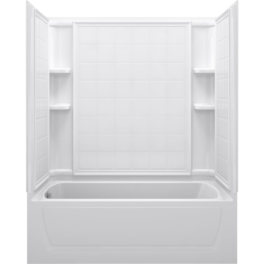 Sterling Ensemble 60-in White Vikrell Alcove Whirlpool Tub with Left-Hand Drain