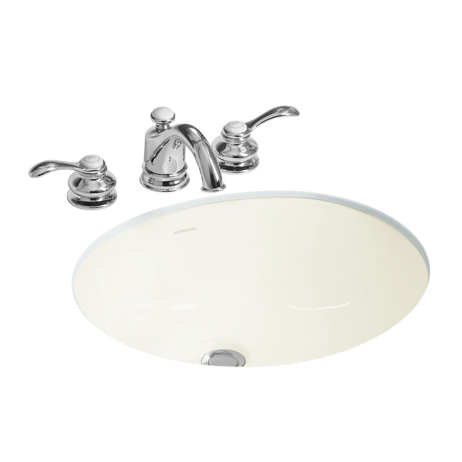 sterling wescott biscuit undermount oval bathroom sink with overflow