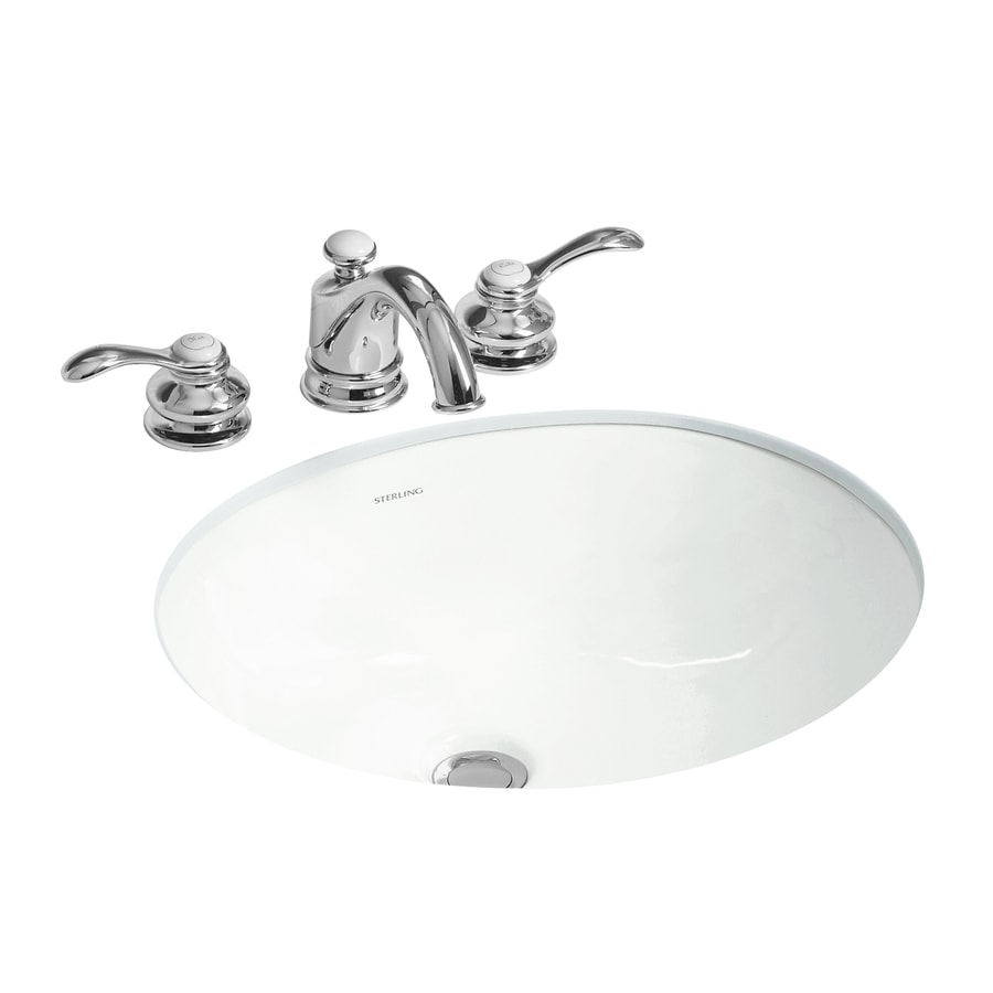 undermount bathroom sink with faucet holes shop sterling wescott white undermount oval bathroom sink 25816