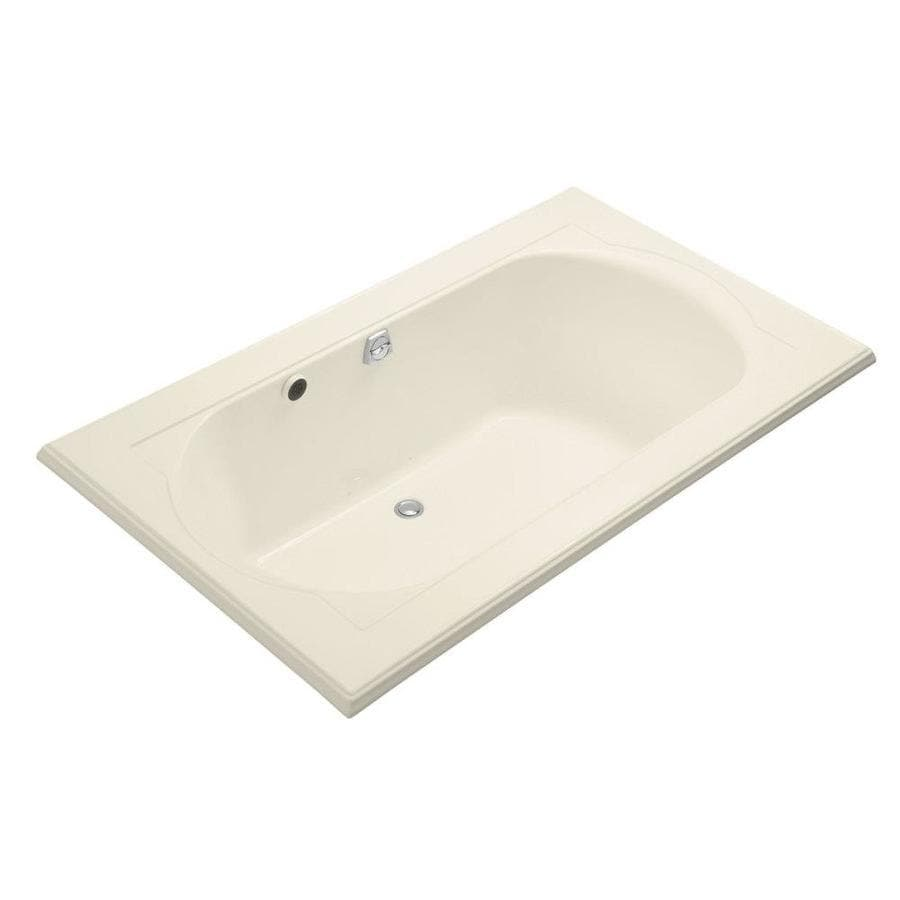 KOHLER Memoirs 72-in Almond Acrylic Drop-In Air Bath with Back Center Drain