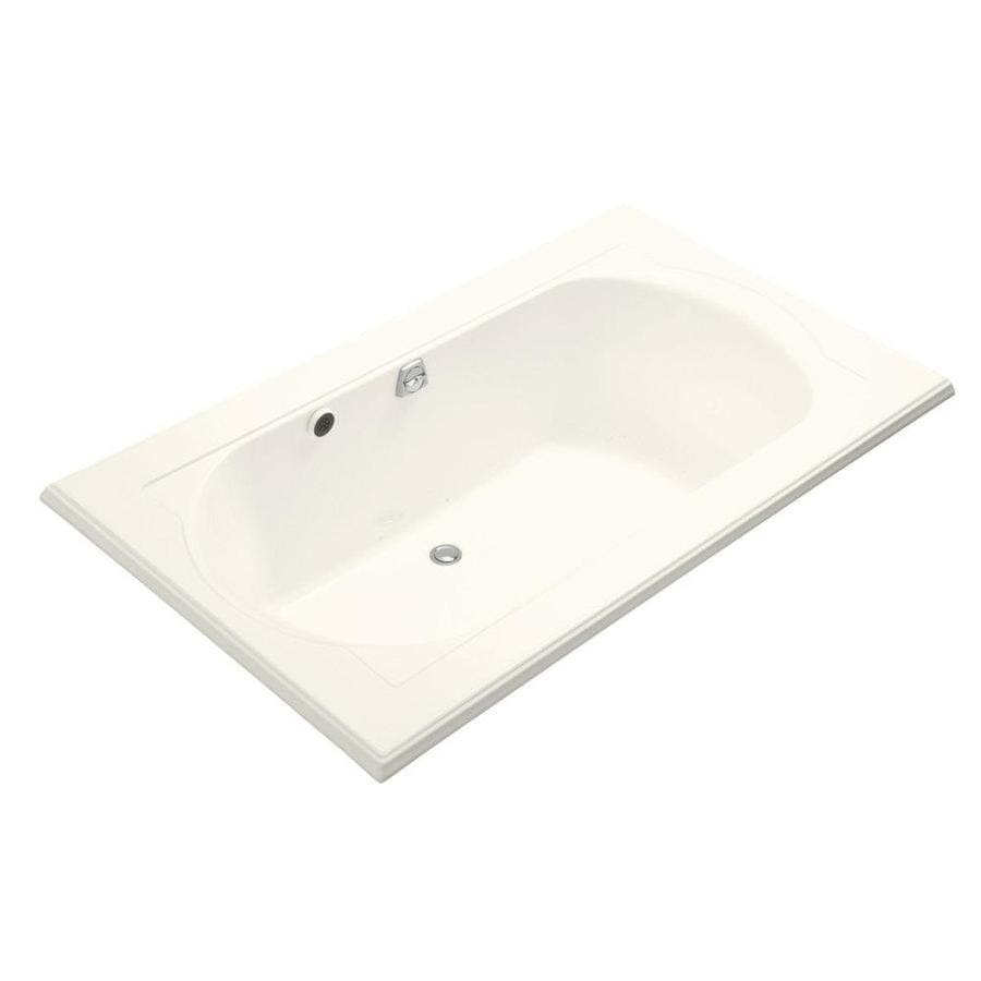 KOHLER Memoirs 72-in Biscuit Acrylic Drop-In Air Bath with Back Center Drain