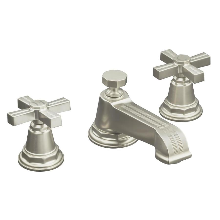 KOHLER Pinstripe Vibrant Brushed Nickel 2-Handle Widespread WaterSense Bathroom Faucet (Drain Included)