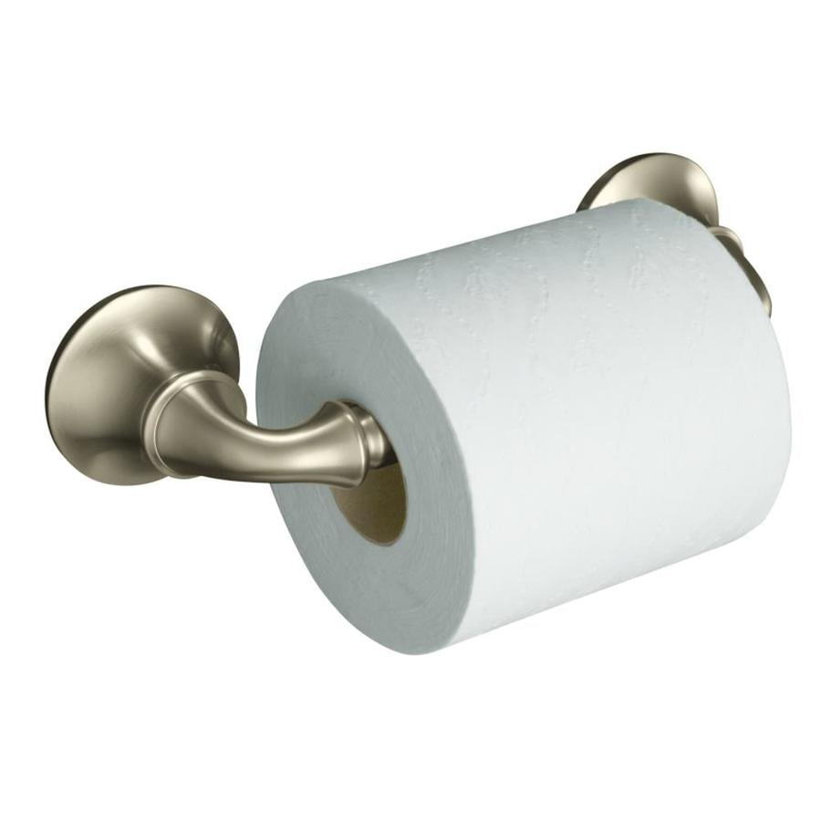 KOHLER Forte Vibrant Brushed Nickel Surface Mount Spring-Loaded Toilet Paper Holder