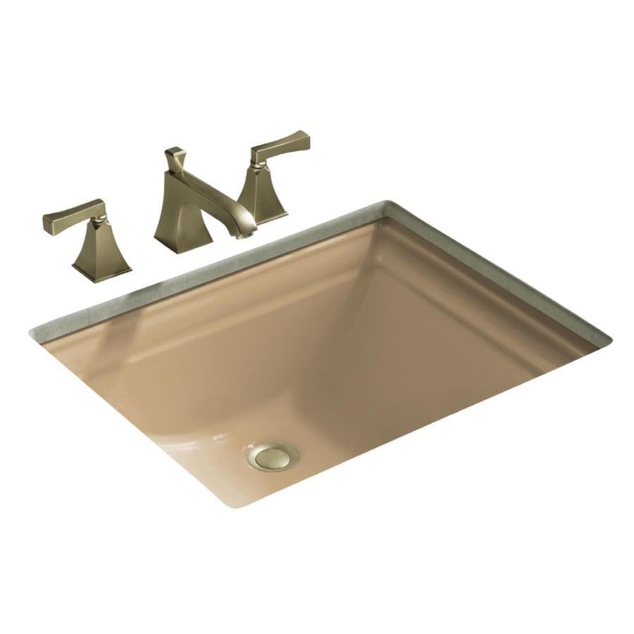 KOHLER Memoirs Mexican Sand Undermount Rectangular Bathroom Sink with Overflow