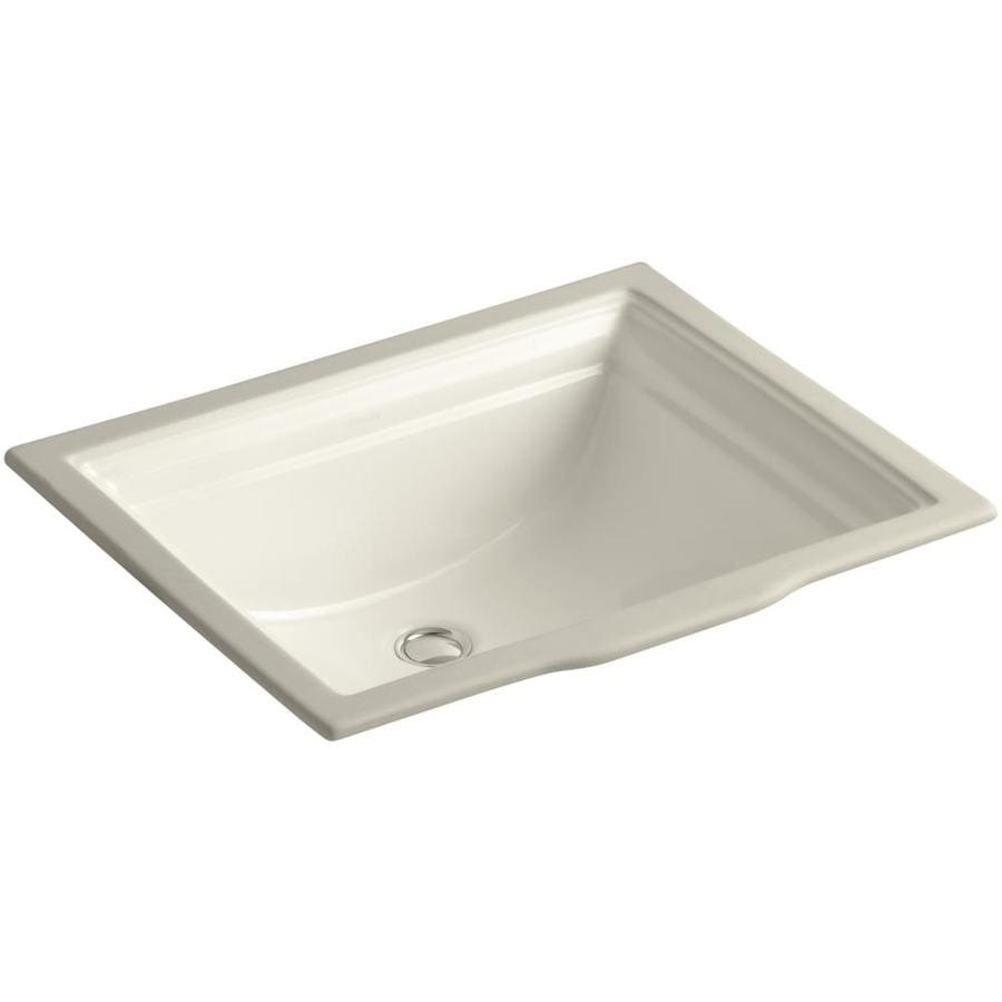 KOHLER Memoirs Almond Undermount Rectangular Bathroom Sink with Overflow