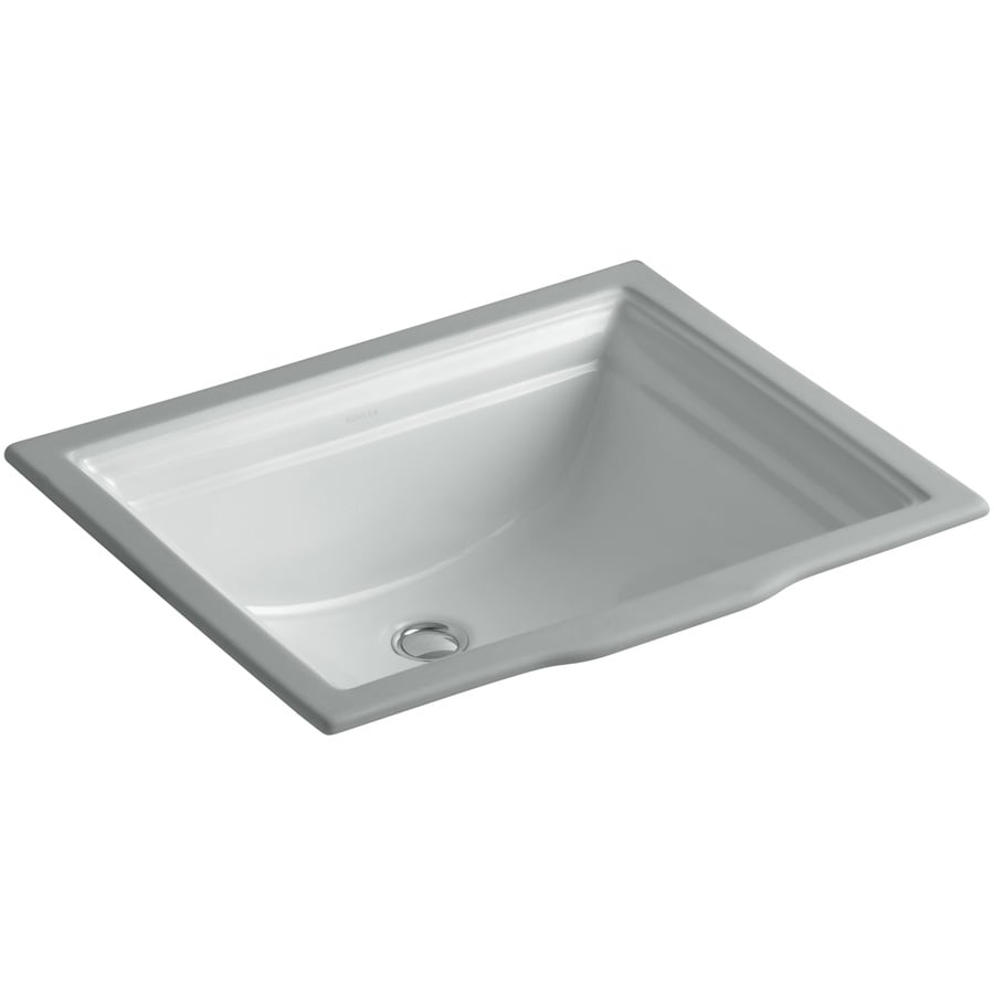 KOHLER Memoirs Ice Grey Undermount Rectangular Bathroom Sink with Overflow