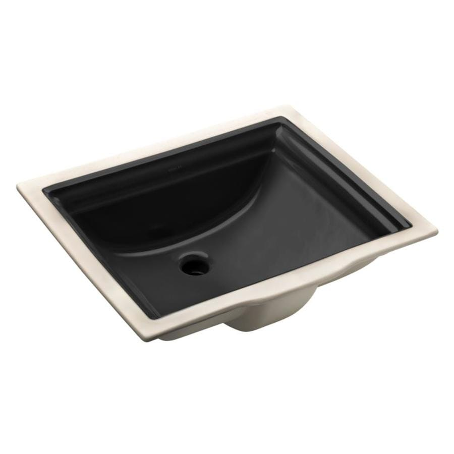 KOHLER Memoirs Black Undermount Rectangular Bathroom Sink with Overflow