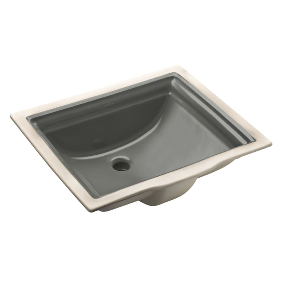 KOHLER Memoirs Thunder Grey Undermount Rectangular Bathroom Sink with Overflow