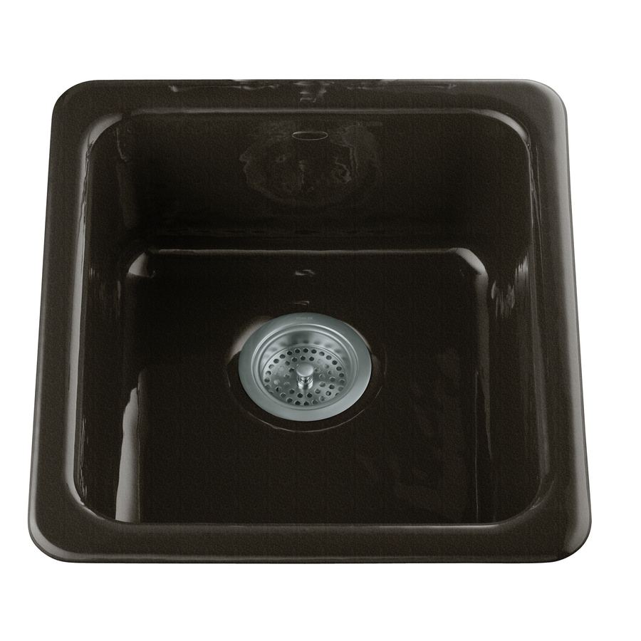 KOHLER Iron/Tones 18.75-in x 17-in Cashmere Single-Basin Cast Iron Drop-in Residential Kitchen Sink