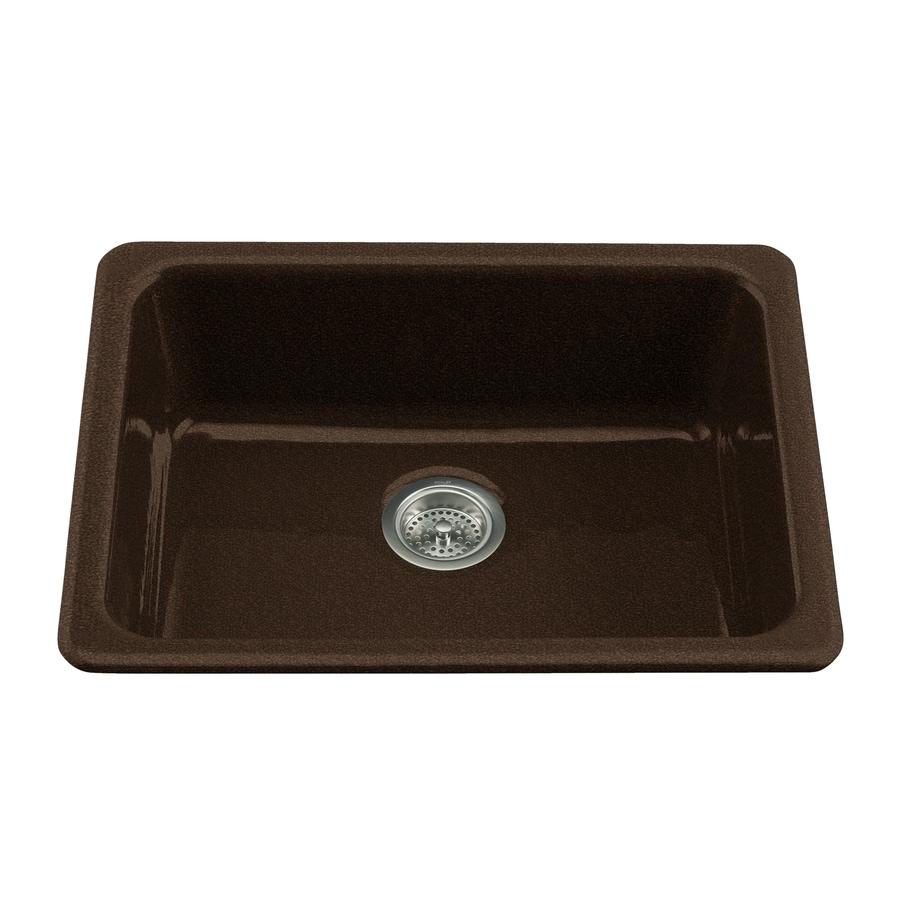 Black Kitchen Sink Lowes: Shop KOHLER Black 'n Tan Single-Basin Cast Iron Kitchen
