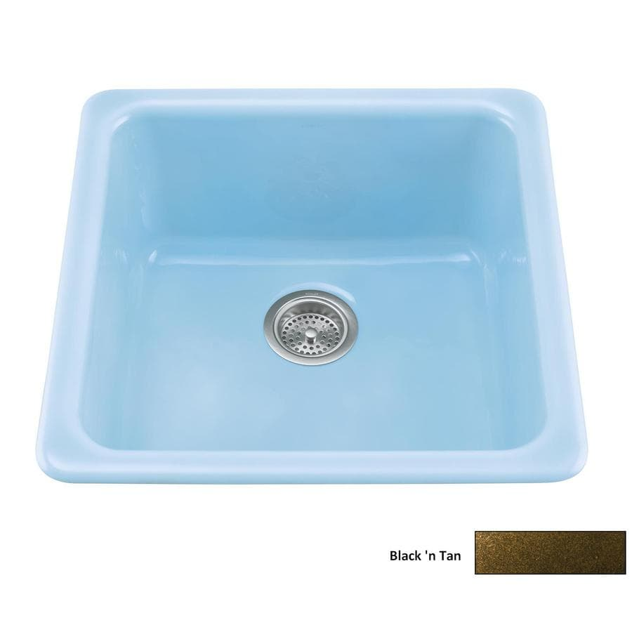 Shop KOHLER Iron/Tones Single-Basin Drop-in Enameled Cast Iron ...