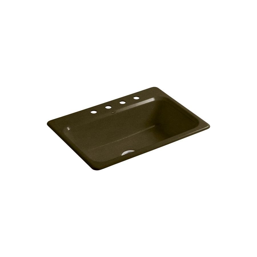 KOHLER Bakersfield 22-in x 31-in Black 'N Tan Single-Basin Cast Iron Drop-in 4-Hole Residential Kitchen Sink