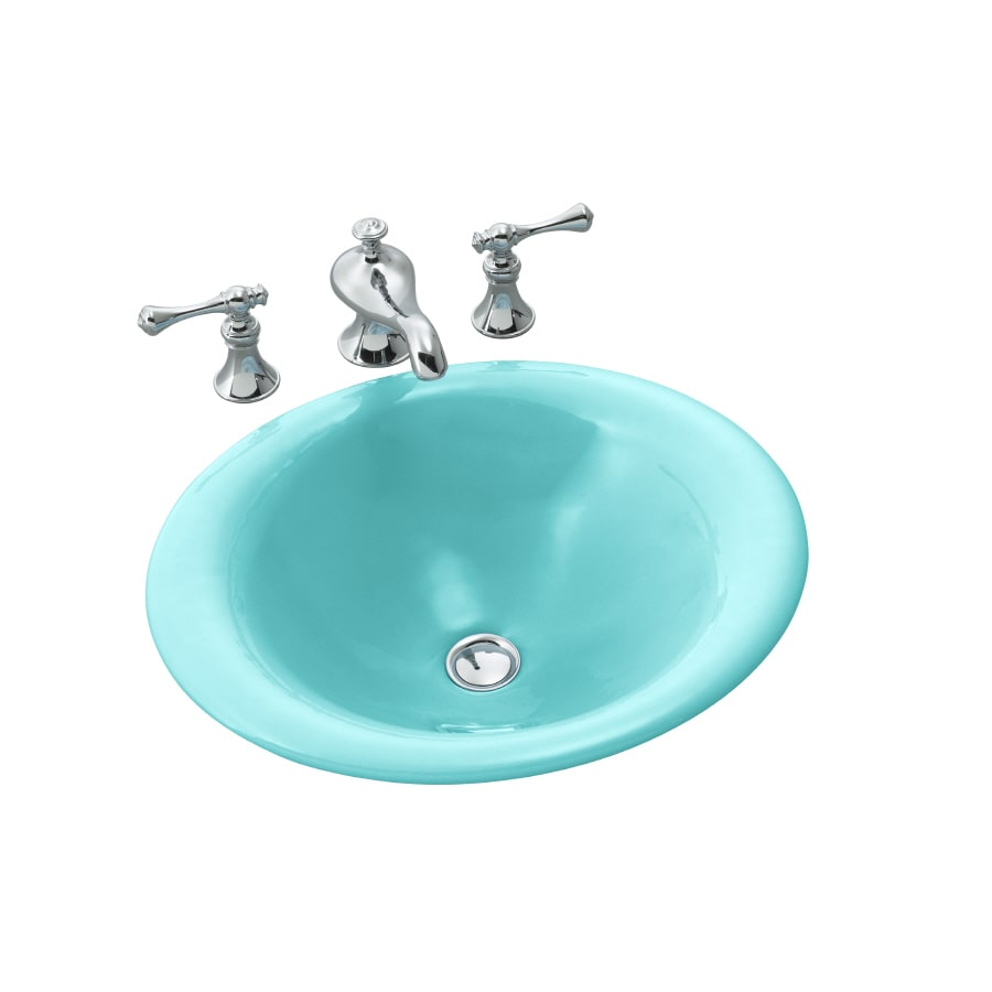 KOHLER Iron Bell Vapour Green Cast Iron Vessel Oval Bathroom Sink