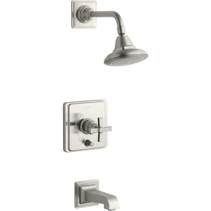 KOHLER Pinstripe Vibrant Brushed Nickel 1-Handle Bathtub and Shower Faucet Trim Kit with Single Function Showerhead