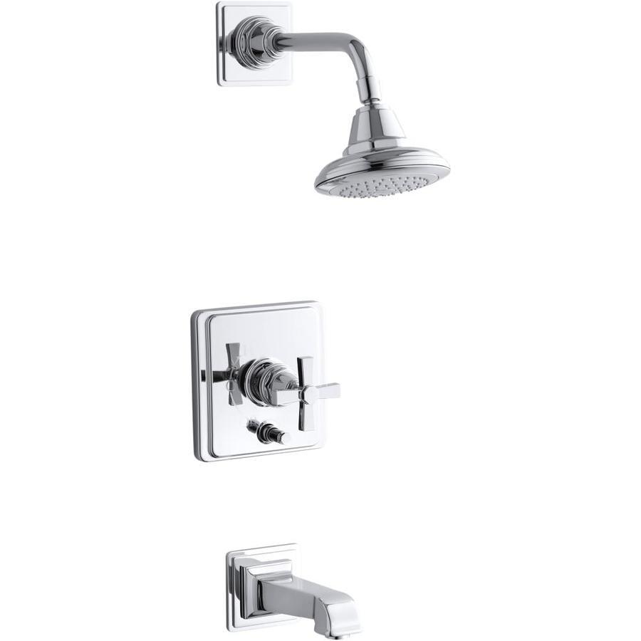 KOHLER Pinstripe Polished Chrome 1-Handle Bathtub and Shower Faucet Trim Kit with Single Function Showerhead