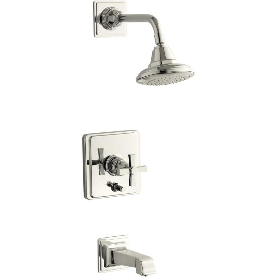 KOHLER Pinstripe Vibrant Polished Nickel 1-Handle Bathtub and Shower Faucet Trim Kit with Single Function Showerhead