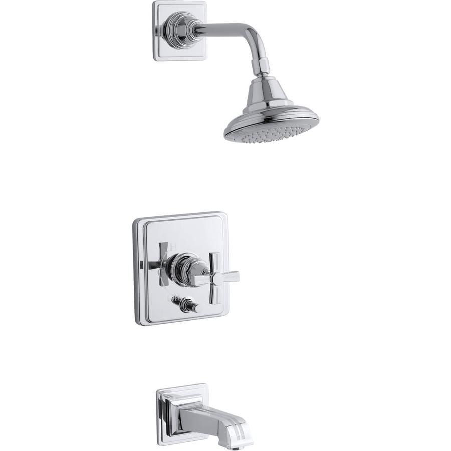 KOHLER Pinstripe Polished Chrome 1-Handle Bathtub and Shower Faucet Trim Kit with Single Function Showerhead