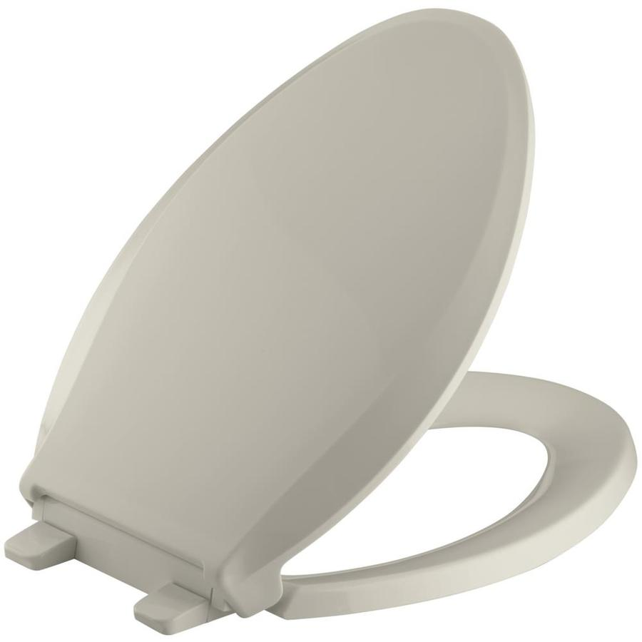 KOHLER Quiet Close Grip-Tight Cachet Plastic Elongated Slow Close Feature Toilet Seat