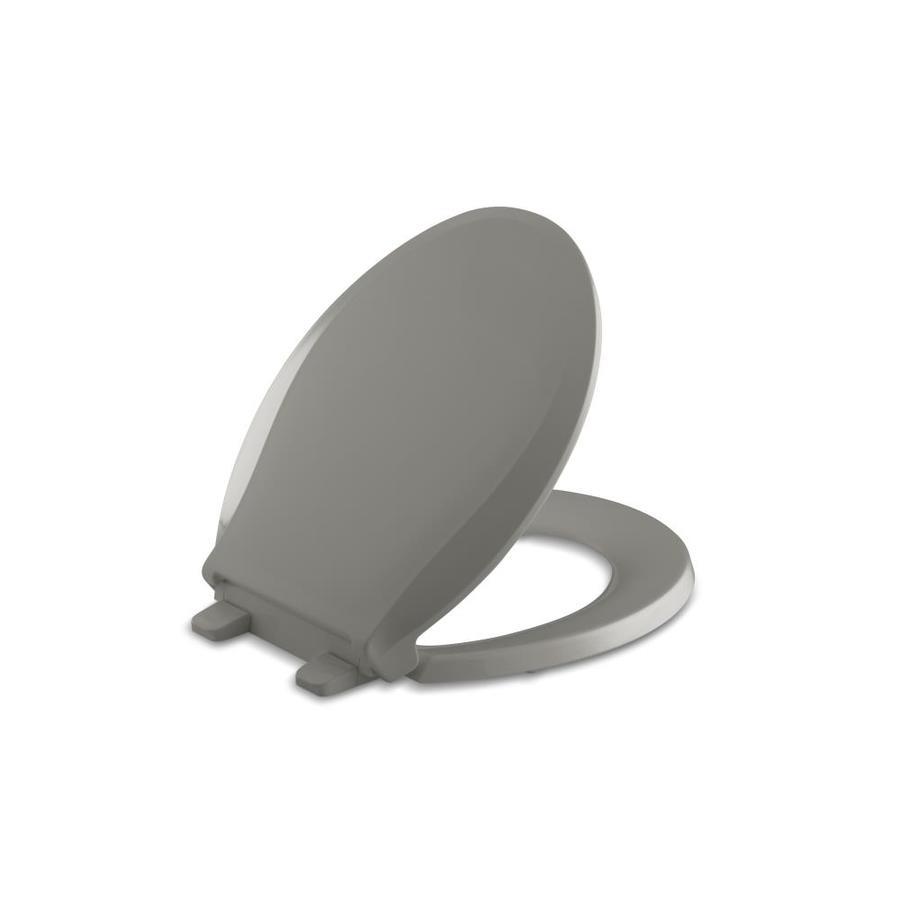 KOHLER Quiet Close Grip-Tight Cachet Plastic Round Slow Close Toilet Seat