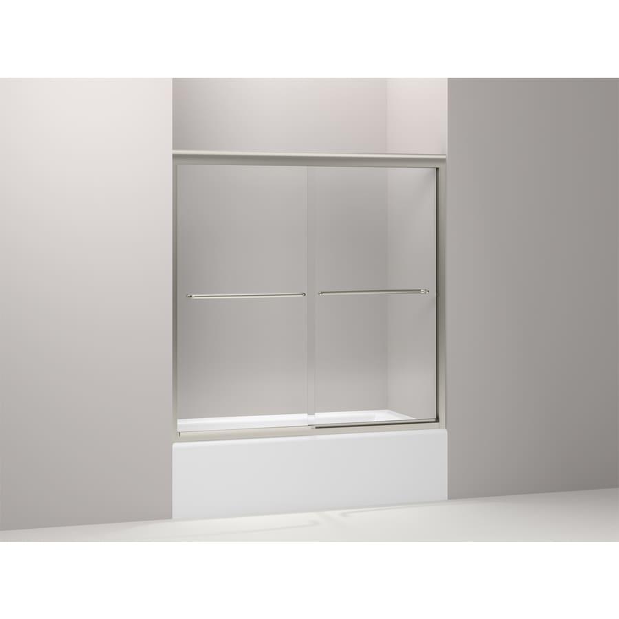 KOHLER Fluence 56.625-in to 59.625-in Frameless Matte Nickel Sliding Shower Door