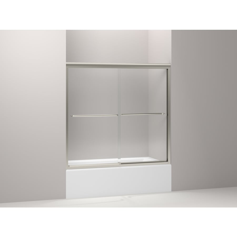 KOHLER Fluence 56.63-in to 59.63-in W Frameless Matte Nickel Sliding Shower Door