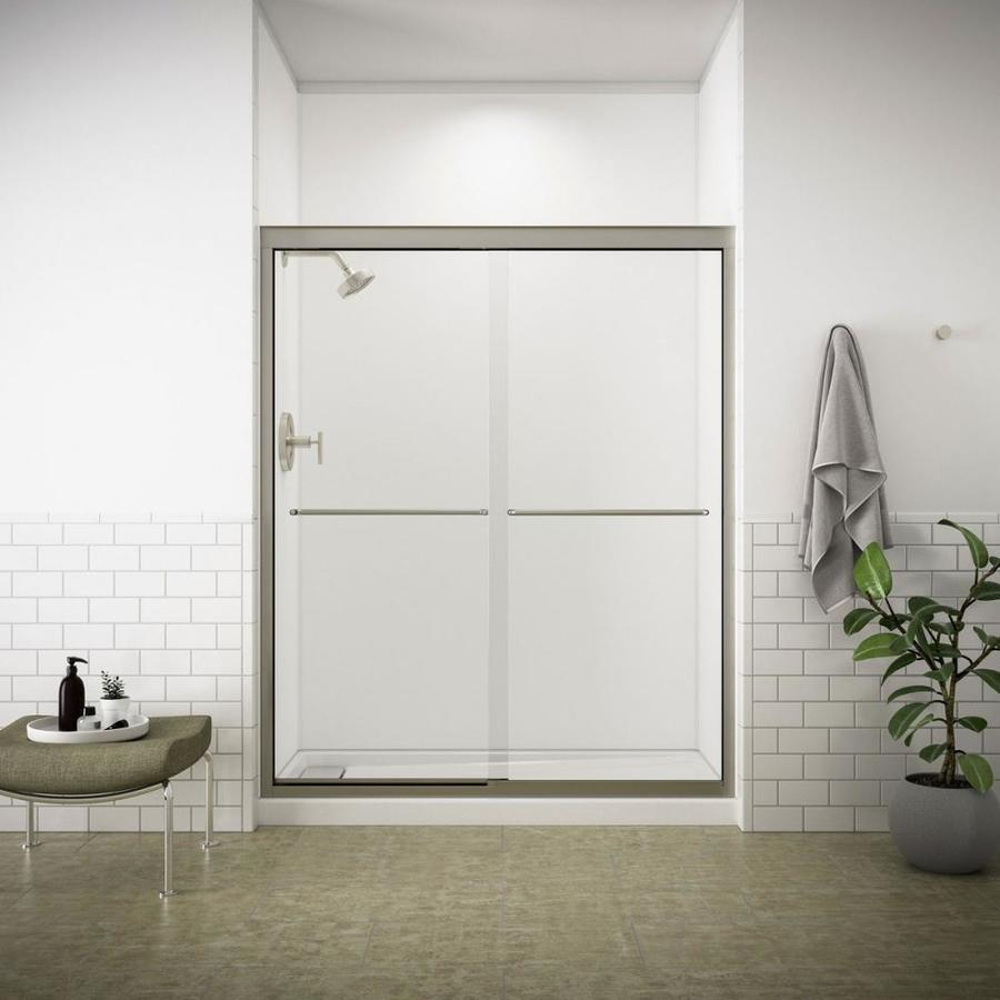 KOHLER Fluence 56-in to 59-in Frameless Matte Nickel Shower Door