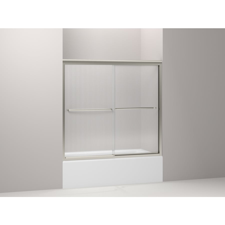 KOHLER Fluence 45.25-in to 59.625-in Frameless Matte Nickel Sliding Shower Door