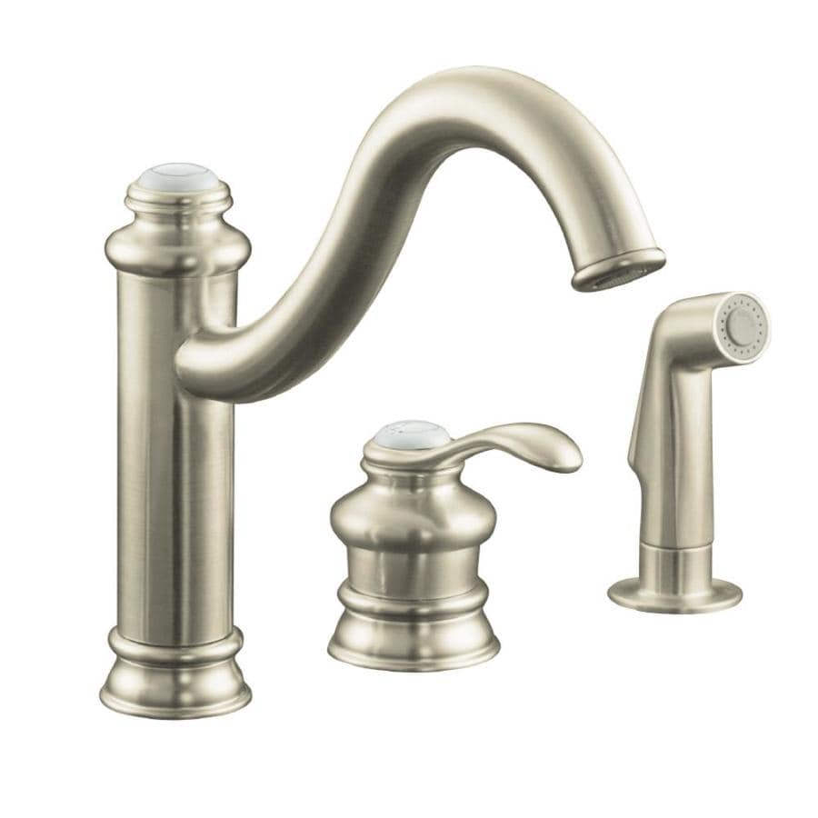 Kohler Kitchen Faucet With Side Spray : Kohler fairfax vibrant brushed nickel handle high arc kitchen faucet with side spray at