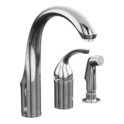Forte Polished Chrome 1 Handle Deck Mount High Arc Kitchen Faucet