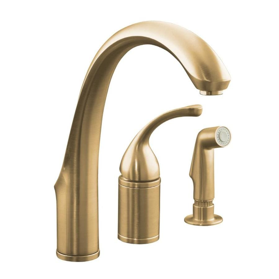 KOHLER Forte Vibrant Brushed Bronze 1-Handle High-Arc Kitchen Faucet with Side Spray