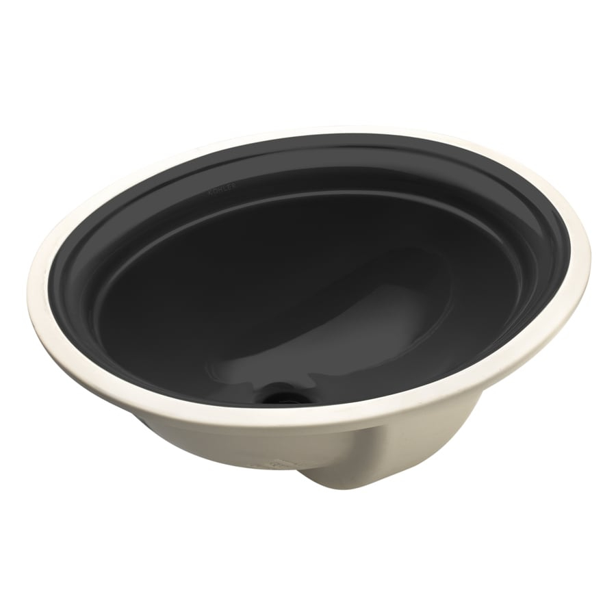 KOHLER Devonshire Black Undermount Oval Bathroom Sink with Overflow