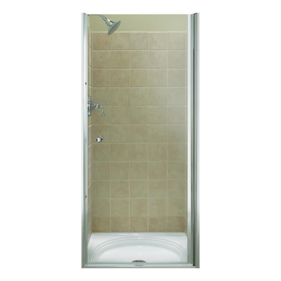 KOHLER Fluence 31.25-in to 32.75-in W Frameless Bright Silver Pivot Shower Door