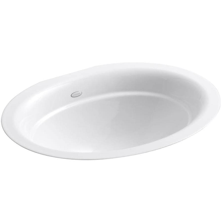Shop Kohler Serif White Cast Iron Undermount Oval Bathroom Sink At