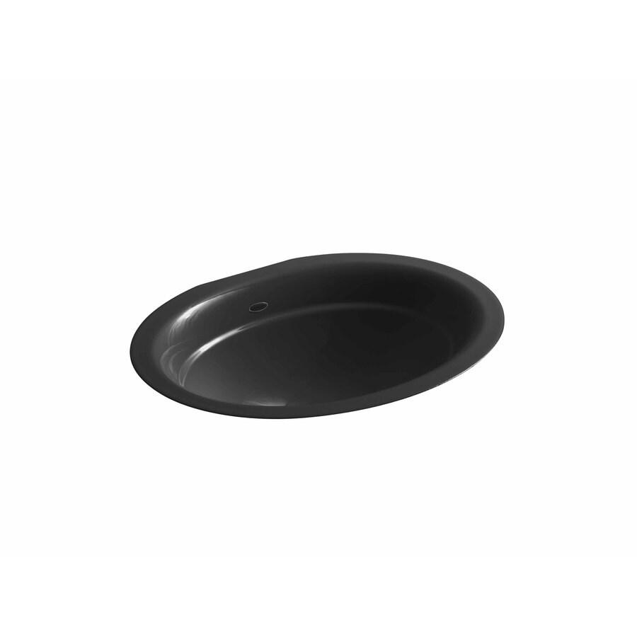 KOHLER Serif Black Black Cast Iron Undermount Oval Bathroom Sink