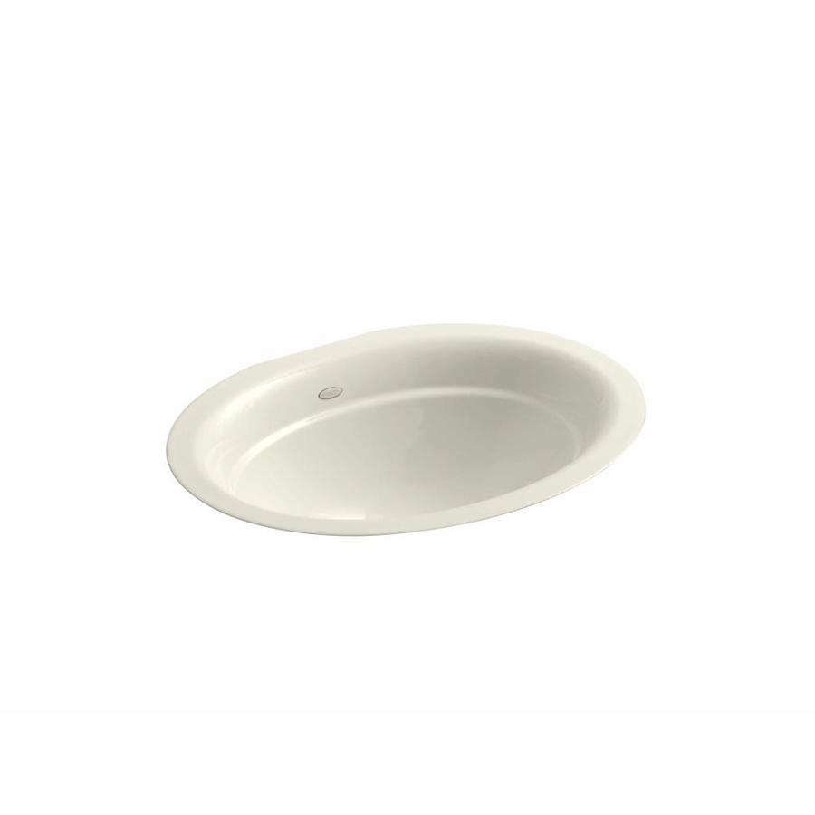 shop kohler serif almond cast iron undermount oval