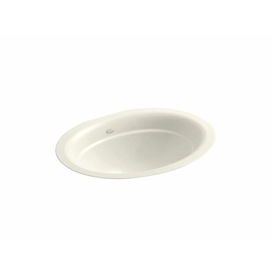 KOHLER Serif Biscuit Cast Iron Undermount Oval Bathroom Sink
