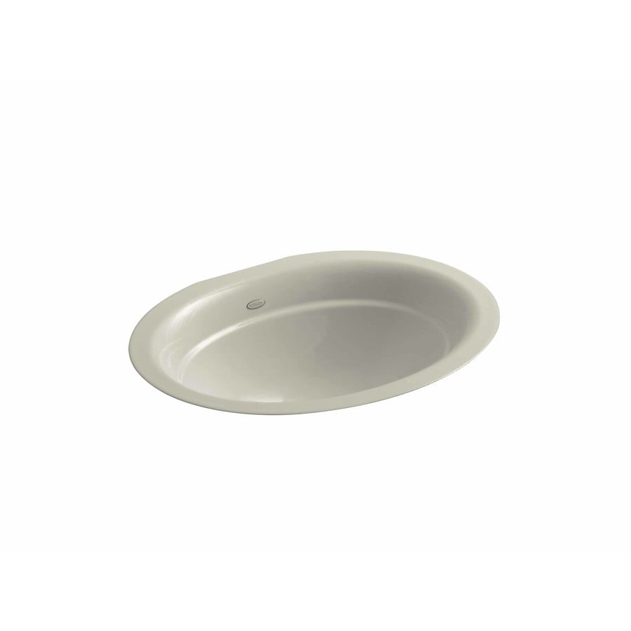 Shop Kohler Serif Sandbar Cast Iron Undermount Oval Bathroom Sink At