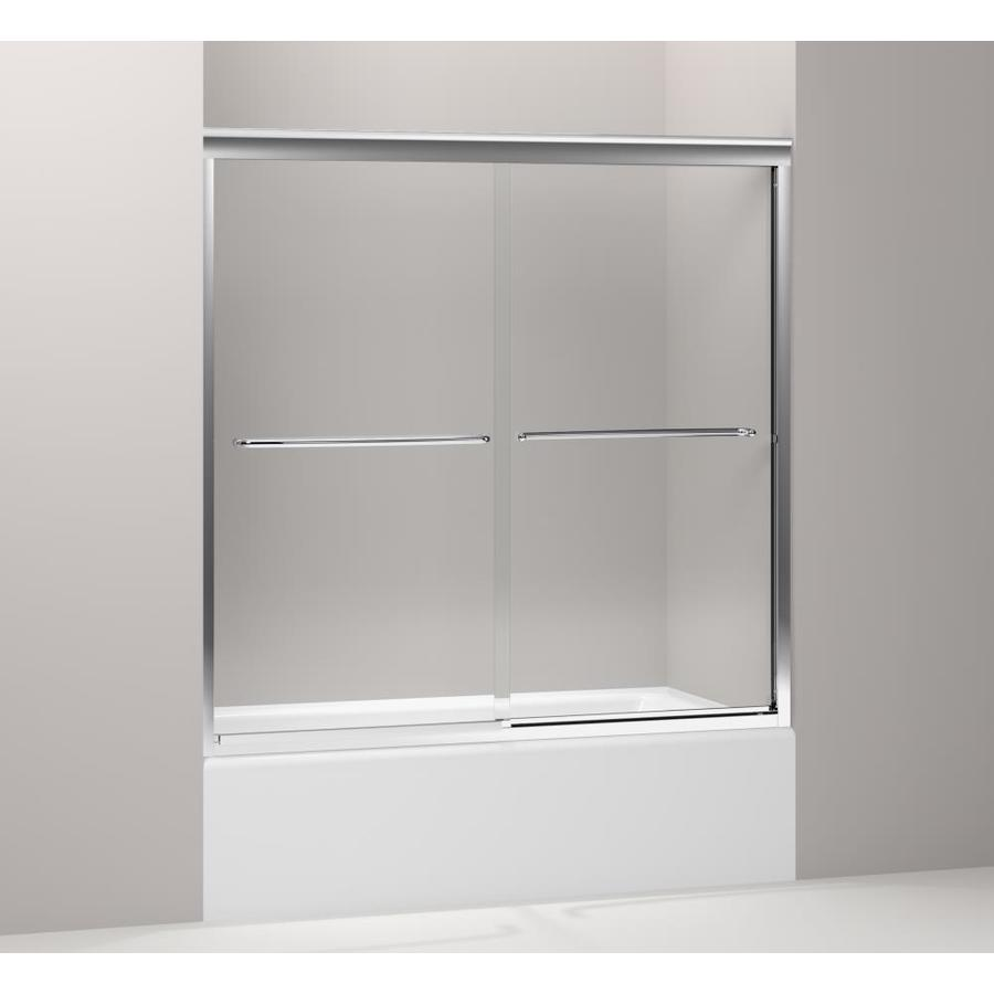 KOHLER Fluence 59.625-in W x 58.3125-in H Bright Polished Silver Frameless Bathtub Door