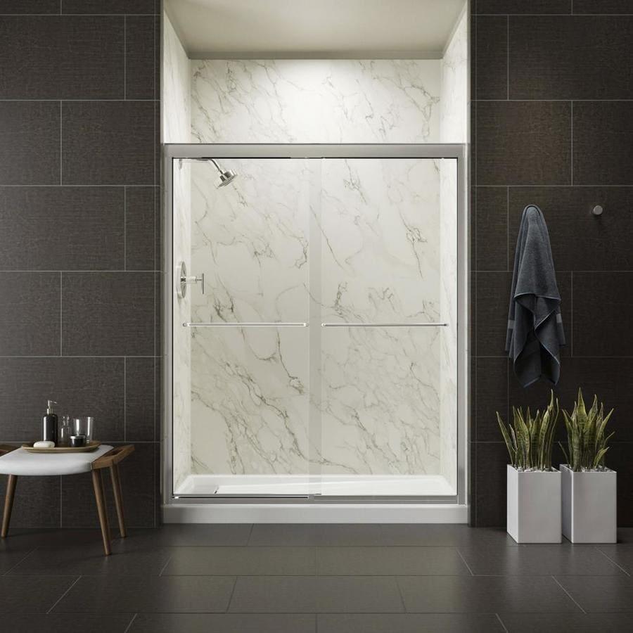 KOHLER Fluence 56.63-in to 59.63-in W Frameless Bright Polished Silver Sliding Shower Door
