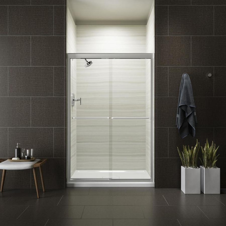KOHLER Fluence 44.63-in to 47.63-in W Frameless Bright Polished Silver Sliding Shower Door