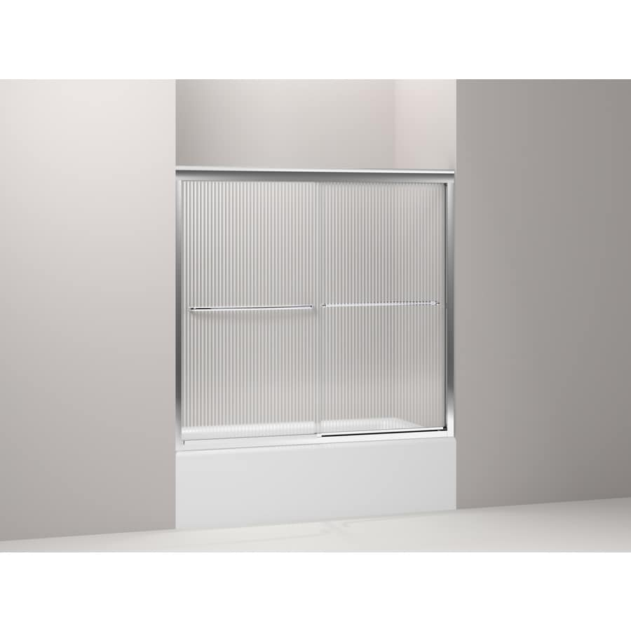 KOHLER Fluence 56.63-in to 59.63-in W Frameless Bright Polished Silver Sliding Shower Door