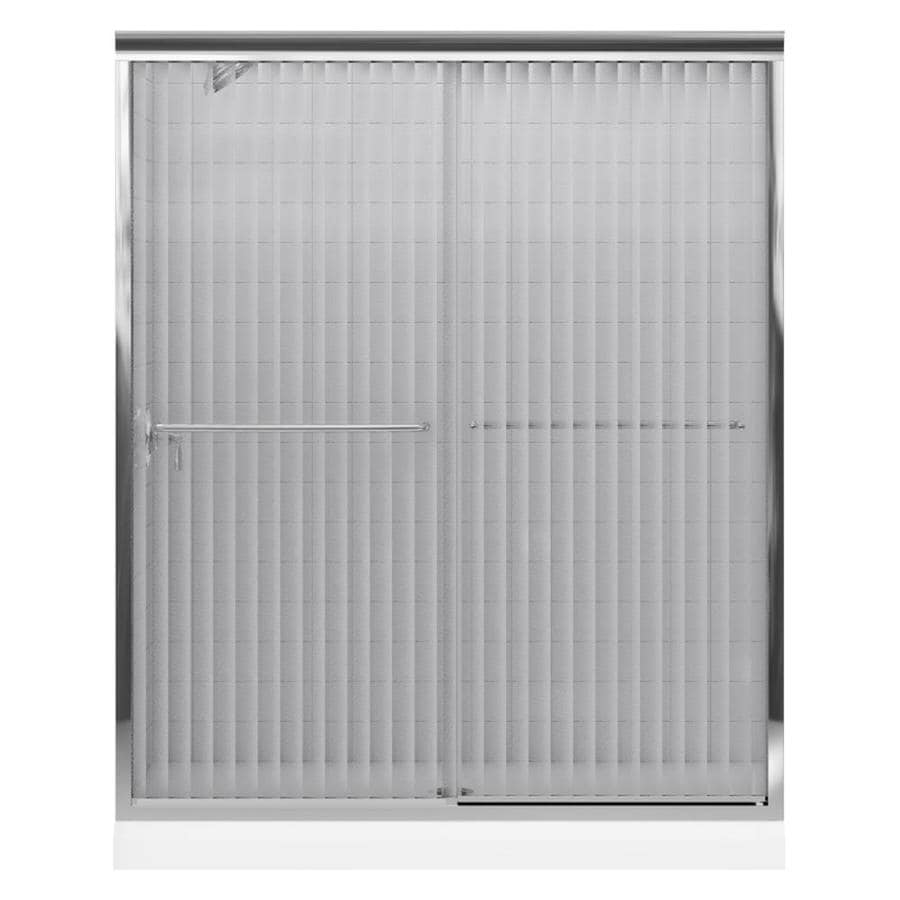 KOHLER Fluence 56-in to 59-in W x 70-in H Bright Polished Silver Sliding Shower Door