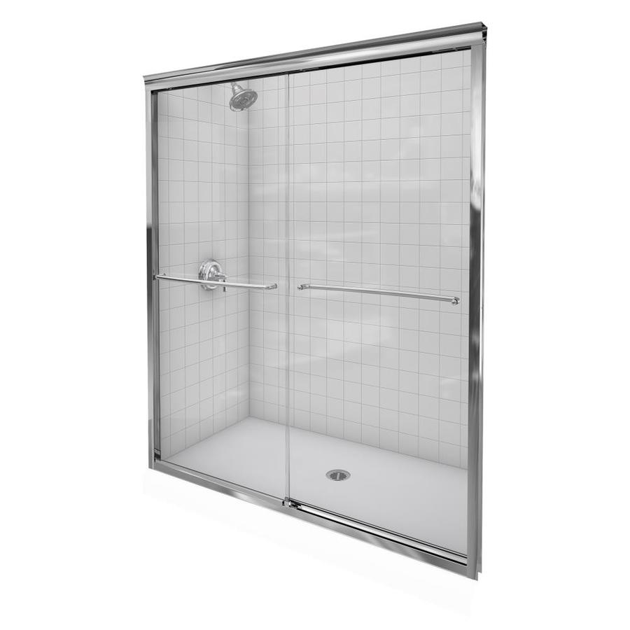 KOHLER Fluence 56-in to 59-in Frameless Bright Polished Silver Sliding Shower Door