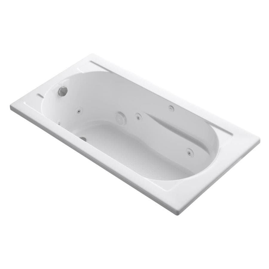 KOHLER Devonshire 60-in White Acrylic Drop-In Whirlpool Tub with Reversible Drain