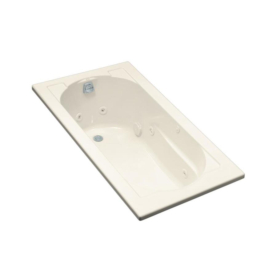 Shop kohler devonshire 60 in almond acrylic drop in whirlpool tub with reversible drain at - Kohler devonshire reviews ...
