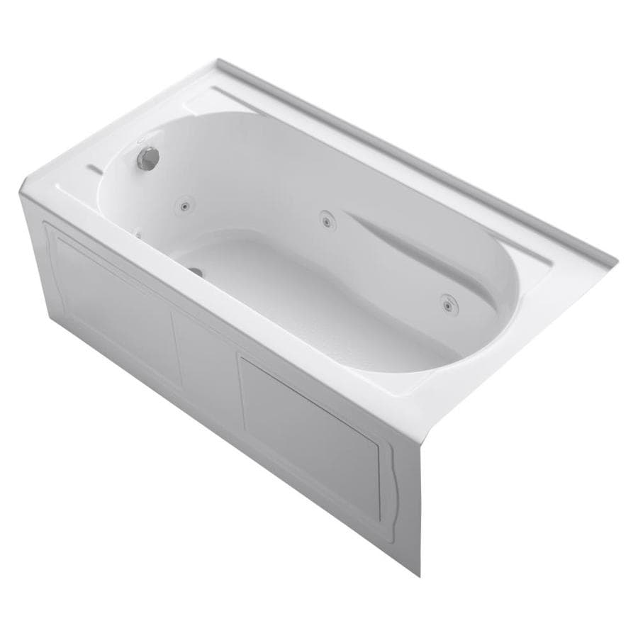 KOHLER Devonshire 60-in White Acrylic Alcove Whirlpool Tub with Left-Hand Drain