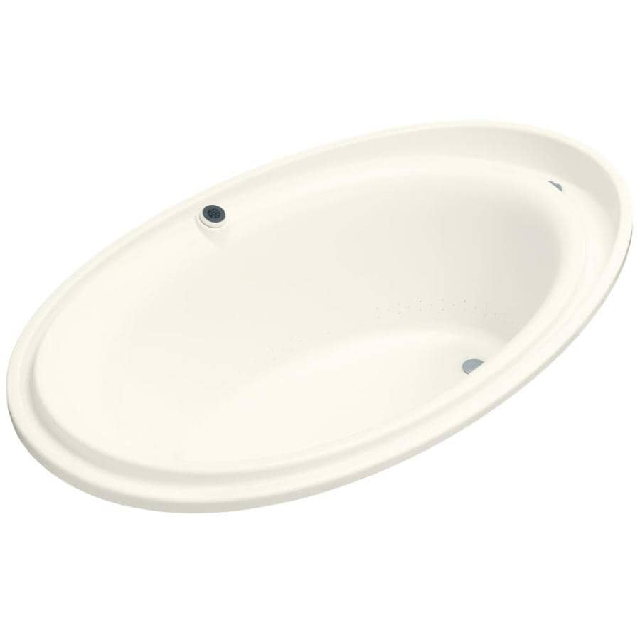 KOHLER Purist 72-in Biscuit Acrylic Drop-In Air Bath with Reversible Drain