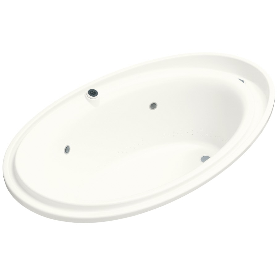 KOHLER Purist 72-in White Acrylic Drop-In Air Bath with Reversible Drain