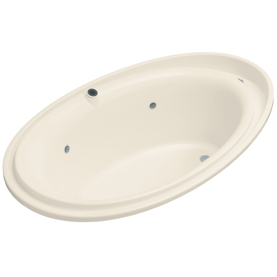 KOHLER Purist 72-in Almond Acrylic Drop-In Air Bath with Reversible Drain