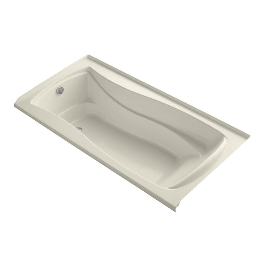 KOHLER Mariposa 72-in Almond Acrylic Alcove Air Bath with Left-Hand Drain